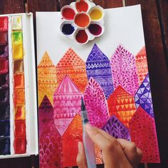 #doodle #pattern#drawing #artist #artjournal #sketchbook #watercolor #painting #houses #home #illustration #ornament #town