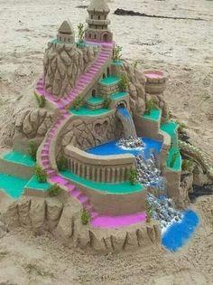 Sand castle sculpture art with colored sand Snow Sculptures, Sculpture Art, Farbiger Sand, Sand Play, Ice Art, Snow Art, Colored Sand, Beach Art, Oeuvre D'art