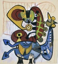 Lucebert (1924-1994) was een Nederlands dichter en schilder. In de jaren zestig legde hij zich vooral toe op de beeldende kunst, die destijds 'figuratief-expressionistisch' genoemd werd. Zijn schilderwerk, dat vooral in het begin sterk beïnvloed was door Cobra, geeft blijk van een vrij pessimistisch wereldbeeld. -1951