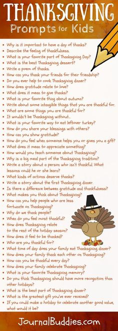 See these Thanksgiving writing prompts for kids! Writing about the spirit of Thanksgiving can foster appreciation and happiness in your students.As your students begin writing, watch gratitude abound.
