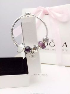 50% OFF!!! $179 Pandora Charm Bracelet Purple White. Hot Sale!!! SKU: CB02038 - PANDORA Bracelet Ideas
