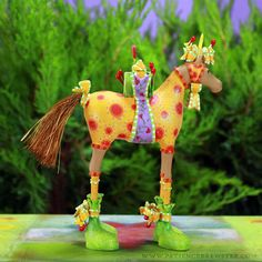 Maisy Horse Ornament is trotting over in her holiday suit bearing a tiny gift. #Horse #Gift