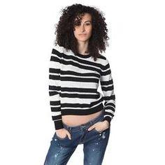 Black stripe knit sweater