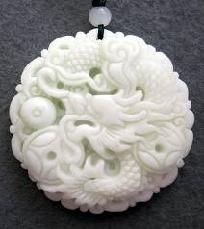 "Chinese Jade Fortune Dragon Coin Amulet Pendant-""Free Shipping""$18.99"
