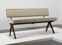 """JEAN PROUVÉ """"Marcoule"""" bench, ca. 1955  Painted steel, fabric.  30 1/2 x 59 x 20 in. (77.5 x 149.9 x 50.8 cm) Manufactured by Les Ateliers Jean Prouvé, France."""