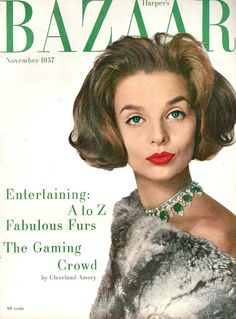 Iris Bianchi, make-up by Helena Rubenstein, cover by Louise Dahl-Wolfe, Harper's Bazaar, November 1957