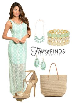 """""""Lace Maxi Dress"""" by jamink ❤ liked on Polyvore featuring MICHAEL Michael Kors, Target, Natasha Accessories, Kate Spade and fiercefinds"""