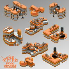 Orange Scifi Buildings for isometric games | OpenGameArt.org