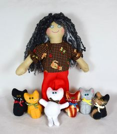 Crazy Cat Lady With 6 Kittens - For Kids / Adults - Handmade Doll Crazy Cat Lady, Crazy Cats, African American Dolls, Leopard Spots, Asian Doll, White Kittens, Cat Doll, Doll Shop, Doll Maker