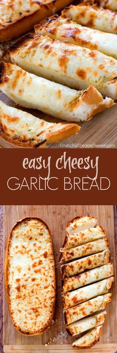 Easy Cheesy Garlic Bread - perfect to go with pasta dishes or soups! So easy and so good, you won't be able to stop eating it!