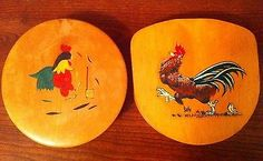 2 Vintage Wood Hamburger Presses w/ Rooster Theme ~ Meat Press or Mold 1 Hangs
