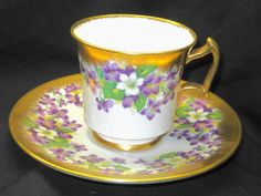 ROYAL CHELSEA PURPLE VIOLETS CHINTZ GOLD TEA CUP AND SAUCER