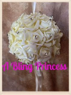 10 Ivory Rhinestone Flower Balls $180