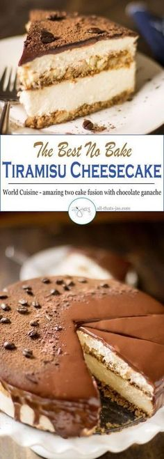 This delicious creamy tiramisu cheesecake will knock your socks off! Best of all, this cheesecake is a no bake cake so you can keep your oven off this summer! Topped with chocolate ganache.