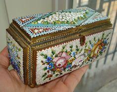 Antique MICRO MOSAIC Venice Italian Jewelry Trinket Box Glass Daisy Rose Violet #Italian