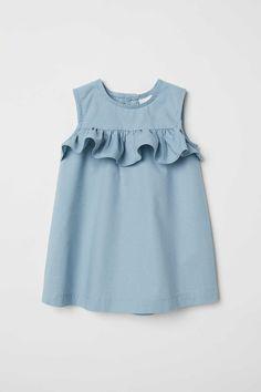 Flounced Cotton Dress - Baby Girl Dress - Ideas of Baby Girl Dress - Flounced Cotton Dress Light turquoise Kids Baby Dress Design, Baby Girl Dress Patterns, Little Girl Dresses, Baby Dresses, Dress Girl, Peasant Dresses, Dresses For Kids, Toddler Girl Dresses, Dresses Dresses
