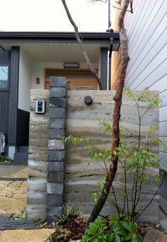 しごと | 萬葉 庭を創る。庭を造る。ガーデンデザインオフィス萬葉 Rammed Earth Homes, Rammed Earth Wall, Natural Building, Green Building, Beton Design, Earth House, Mail Boxes, Earth Design, Building Materials