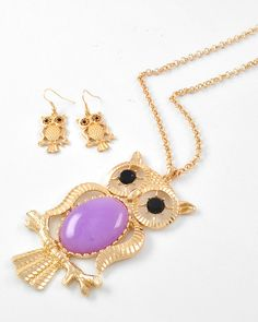 Bows To Toes | Large Lavender Owl Necklace | Online Store Powered by Storenvy