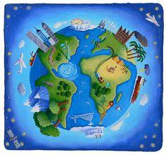 World - Beverley Young Circle Logos, Illustrators, Logo Design, Earth, Teaching, World, Globes, Maps, Creativity