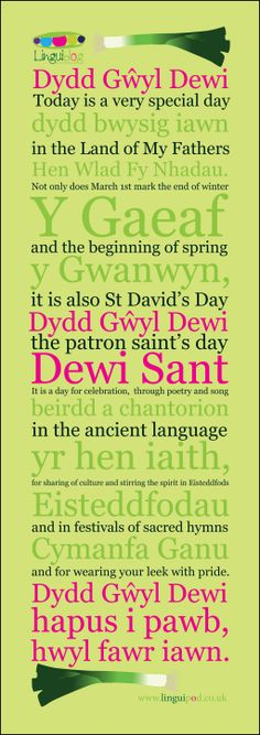 Celebrating St David's Day, the Welsh national day - 1st March.