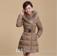 15b65d89edf70 Best Winter 2014 New Large Raccoon Fur Collar Temperament Self-cultivation  Hooded Jacket Online with