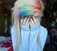 Indie scene hair | rainbow fringe | blonde hair