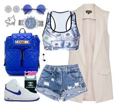 """""""Salut !"""" by cissylion ❤ liked on Polyvore featuring Topshop, Moschino, Retrò, Diane Kordas and GUESS"""