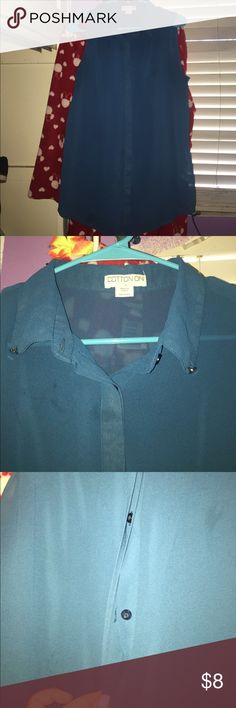 Blue Sheer Top Blue sheer top. The middle part covers the buttons, so you can't see them when you wear it. Cotton On Tops Blouses
