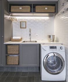 20 Space Saving Ideas for Functional Small Laundry Room Design Small laundry room design is about creating functional spaces where chores do not get procrastinated but get done quickly and efficiently Laundry Room Lighting, Diy Laundry, Vintage Laundry Room, Grey Bathrooms, Laundry In Bathroom, Grey Cabinets, Small Laundry Room