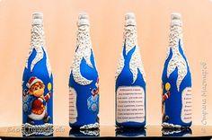 Декор предметов Новый год Декупаж Бутылочки с символом гола Обезьянки Краска фото 2