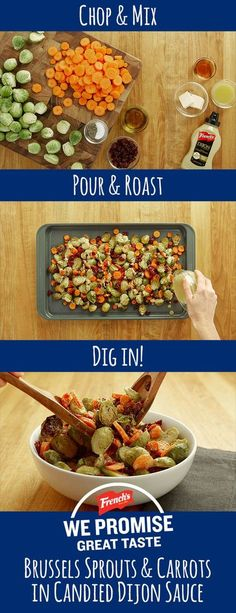 Roasted brussels sprouts and carrots tossed with Dijon sauce = an amazing side dish for any dinner.