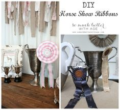 DIY horse show ribbons via somuchbetterwithage.com #horse #equestrian #ribbons #DIY