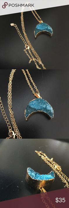 New! 18K Gold Aqua Agate Druzy Moon Necklace Authentic!! Brand new without tag! Gorgeous 18K gold plated necklace filled with an Aqua Blue colored Agate Druzy Crystal ! Each necklace is unique and different as it is authentic Crystal! Each one is designed with a sparkling aurora borealis agate Druzy and titanium Crystal chips on a 18k gold plated necklace . No trades please . Jewelry Necklaces