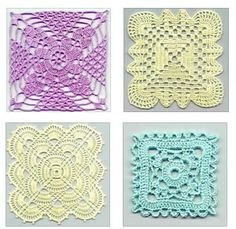 Four Free Square Crochet Motifs