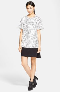 Rachel Zoe 'Annalee' Short Sleeve Trapeze Dress