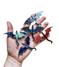 Game of thrones INSPIRED dragon jewelry / Dragon red pin / Mother of dragons / Dragon brooch / glass / Stained glass dragon art Stained Glass Paint, Stained Glass Crafts, Stained Glass Designs, Stained Glass Patterns, Stained Glass Windows, Feather Jewelry, Feather Necklaces, Painting On Glass Windows, Dragon Jewelry
