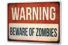 Tin Sign XXL metal plate plaque Nostalgic Beware of Zombies *** Read more  at the image link.Note:It is affiliate link to Amazon.