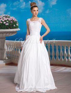 Duchesse-Linie Taft Spitzen bodenlang U-Ausschnitt Brautkleid - $184.99