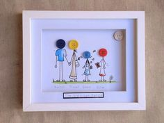 Personalised hand drawn and painted button family By Amand Diy And Crafts, Crafts For Kids, Arts And Crafts, Paper Crafts, Button Frames, Button Art, Diy Mothers Day Gifts, Diy Gifts, Button Family Picture