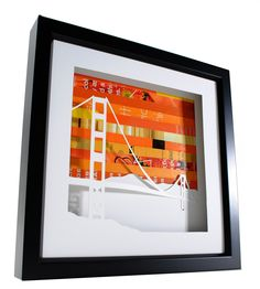 Golden Gate Bridge shadowbox- made from recycled magazines. $56.00, via Etsy.