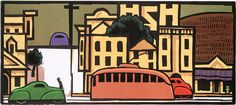 Lockwood Dennis. Thoroughfare, 1999. Woodcut. Edition of 30. 9-1/2 x 21 inches.