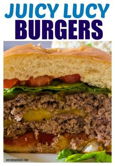 The classic Juicy Lucy, a mouthwater burger grilled to perfection and stuffed with your favorite cheese! Perfect for any day! Fire them up and enjoy! Great for summer days and Holidays like Memorial Day, Fathers Day, and of July! Best Grill Recipes, Burger Recipes, Grilling Recipes, Crockpot Recipes, Soup Recipes, Vegetarian Recipes, Dinner Recipes, Healthy Recipes, Delicious Recipes