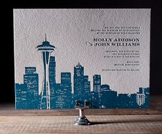 Another new addition to our Charmed cityscape series! Letterpress invitations featuring the Seattle skyline