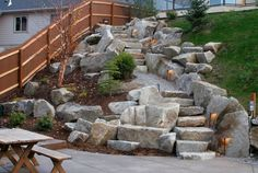 landscaping ideas stair | Boulder Stairs, Stair LightingEntryways, Steps and CourtyardCopper ...