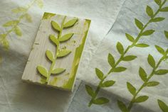 I love block prints... I didn't even think to do them on fabric for super sweet napkins/tablecloths/upholstery covers!