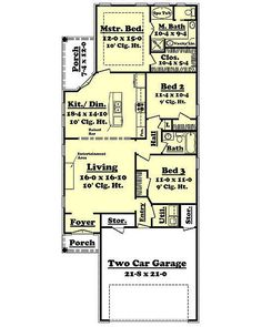 European Style House Plan - 3 Beds 2.00 Baths 1400 Sq/Ft Plan #430-50 Floor Plan - Main Floor Plan - Houseplans.com