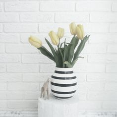 kahler omaggio vase, wooden toy, white brick wall, white interior, Scandinavian interior, Nordic interior http://frichic.com
