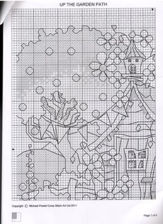 up the garden Cross Stitch House, Mini Cross Stitch, Simple Cross Stitch, Cross Stitch Flowers, Cross Stitch Charts, Cross Stitch Designs, Cross Stitch Patterns, Blackwork Cross Stitch, Cross Stitching