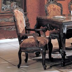 Traditional Formal Cherry Wood Marble Dining Room Table Set ~ Beautiful Details