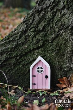 Fairy Door 'Mara' in Pink - Pink Fairy door - Fairy door for tree - Miniature door - Fairy garden - Fairytale door - Tooth Fairy door Fairy Doors On Trees, Tooth Fairy Doors, Cute Cottage, Garden Planning, Door Knobs, Tree Decorations, Fairy Tales, Fairies, Outdoor Decor